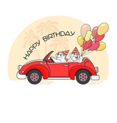 happy birthday greeting card with two bears in ca vector image vector image