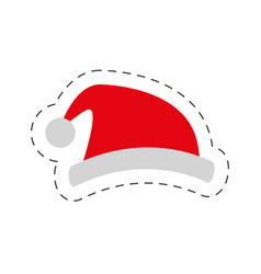 red hat santa claus cut line vector image