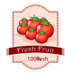 A fresh fruit label with ripe tomatoes vector