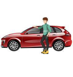 a happy man next to the car vector image