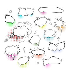 a set comic bubbles and elements on white vector image