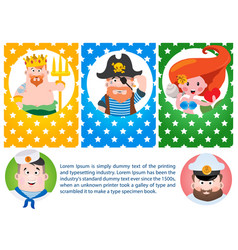 A set of cards with the image of neptune mermaids vector