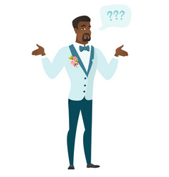 african-american confused groom with spread arms vector image