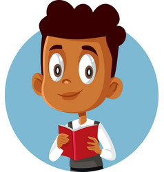 African boy holding textbook studying for exams vector