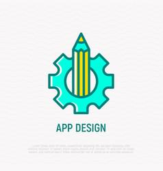 App design thin line icon pencil and wheel vector