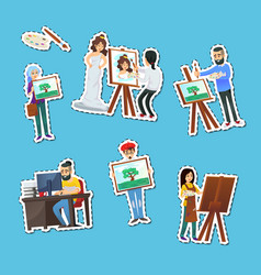 artists painting and showing artworks labels set vector image