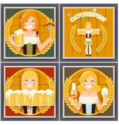 autumn sausage beer mug oktoberfest girl character vector image