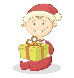 Baby Santa Claus with a gift box vector image