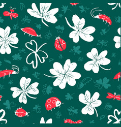 background with clover leaves and insects vector image