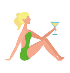beautiful woman in swimsuit with cocktail vector image