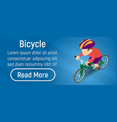 bicycle concept banner isometric style vector image