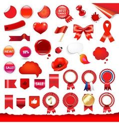 Big Red Labels And Ribbons Set vector image