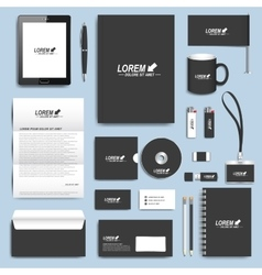 Black set of corporate identity templates vector image