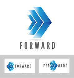 Blue forward logo arrow vector image