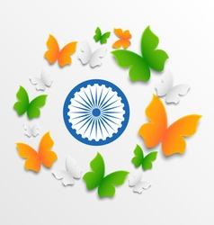 Butterflies in Traditional Tricolor of Indian Flag vector image