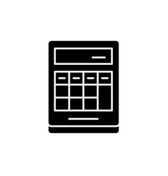 calculation on the calculator black icon vector image