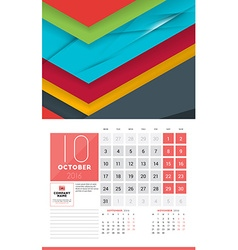 Calendar for 2016 Year October Design Clean vector