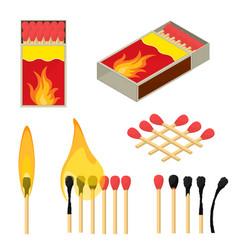 cartoon color wooden match stick set vector image