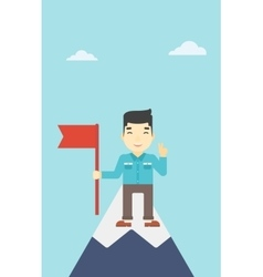 Cheerful leader businessman vector