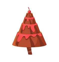 Chocolate cake fir tree colorful cartoon vector