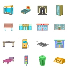 City infrastructure icons set cartoon style vector