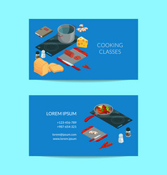 Cooking food isometric business card vector