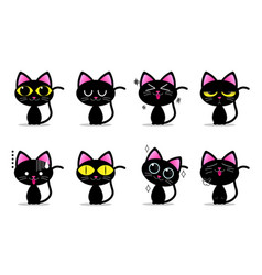 cute black cat characters with different emotions vector image