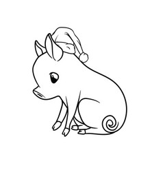 Cute piglet with a curly tail sitting outline vector