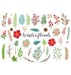 Decorative winter floral elements vector
