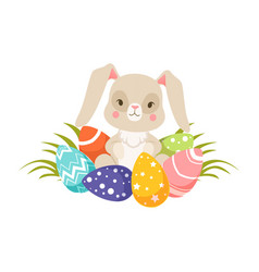 easter bunny with colorful eggs funny rabbit vector image