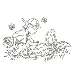easter egg hunter boy vector image