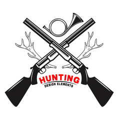 emblem template hunting club emblem with deer vector image