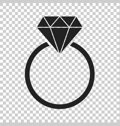 engagement ring with diamond icon in flat style vector image