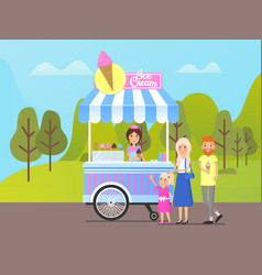 Family buying ice cream from street shop in park vector