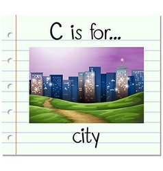 Flashcard letter C is for city vector image
