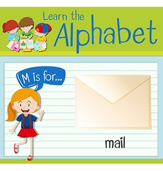 Flashcard letter M is for mail vector