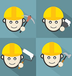 Flat Design Engineer Icon With Long Shadow Effect vector image