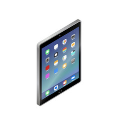 flat isometric gray tablet pc computer with ui vector image