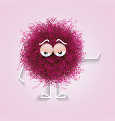Fluffy cute pink spherical creature bored vector
