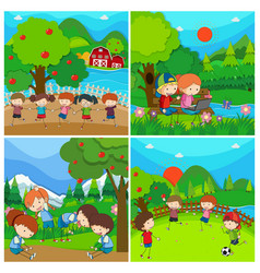 four scenes with kids in park vector image