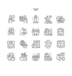 Global health care well-crafted thin line icons vector