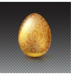Golden egg with floral pattern on transparent vector