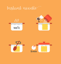 Graphic info of cooking noodles vector