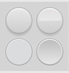 gray plastic buttons 3d round signs - normal vector image