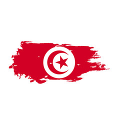 grunge brush stroke with tunisia national flag vector image