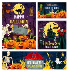 halloween banner of horror party invitation design vector image