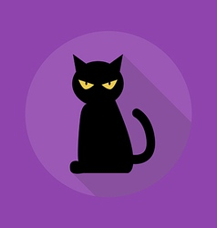 Halloween Flat Icon Black Cat vector