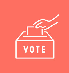 Hand putting paper in voting box vector