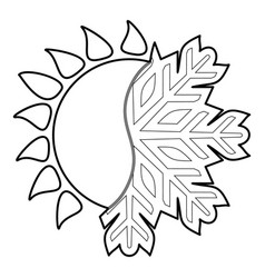 Hot cold icon outline style vector
