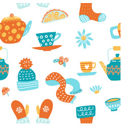 hygge seamless pattern in cute vector image